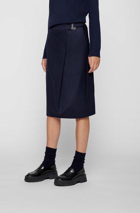 A-line wrap skirt in stretch virgin wool, Dark Blue