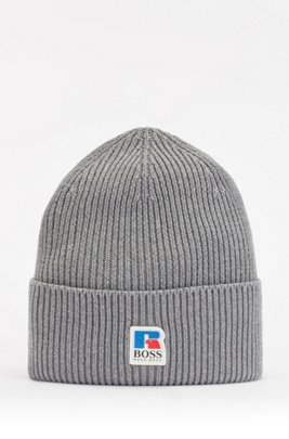 Ribbed beanie hat in Egyptian cotton with exclusive logo, Grey