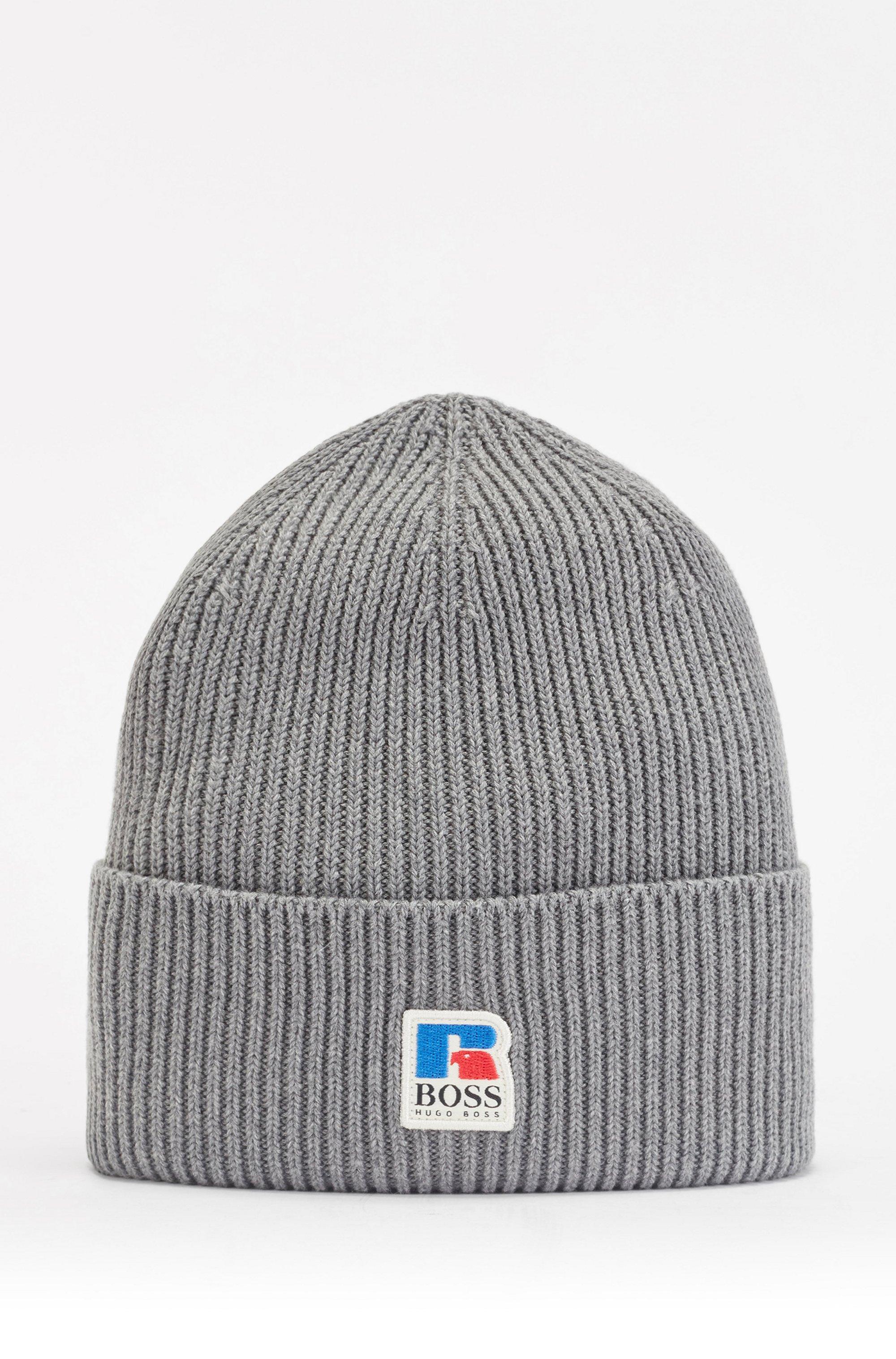Gerippte Mütze aus ägyptischer Baumwolle mit exklusivem Logo, Grau
