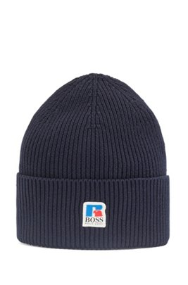 Ribbed beanie hat in Egyptian cotton with exclusive logo, Dark Blue
