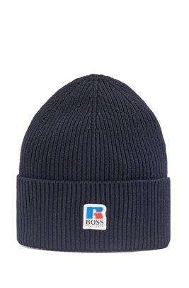 Gerippte Mütze aus ägyptischer Baumwolle mit exklusivem Logo, Dunkelblau