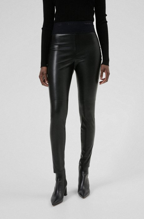 Extra-slim-fit leggings in faux leather, Black