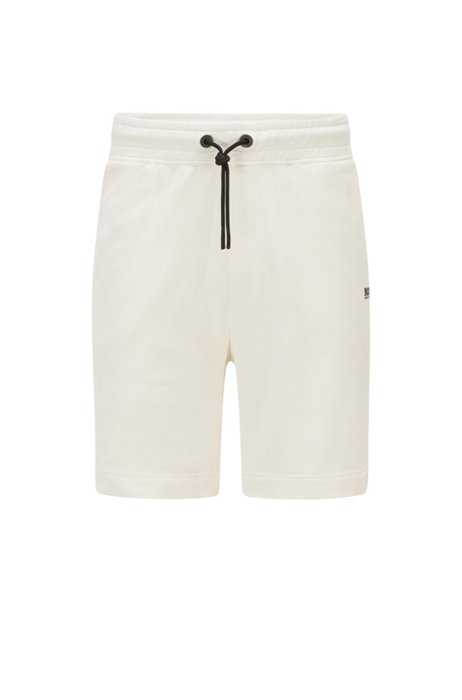 Contrast-logo shorts in an organic-cotton blend, White