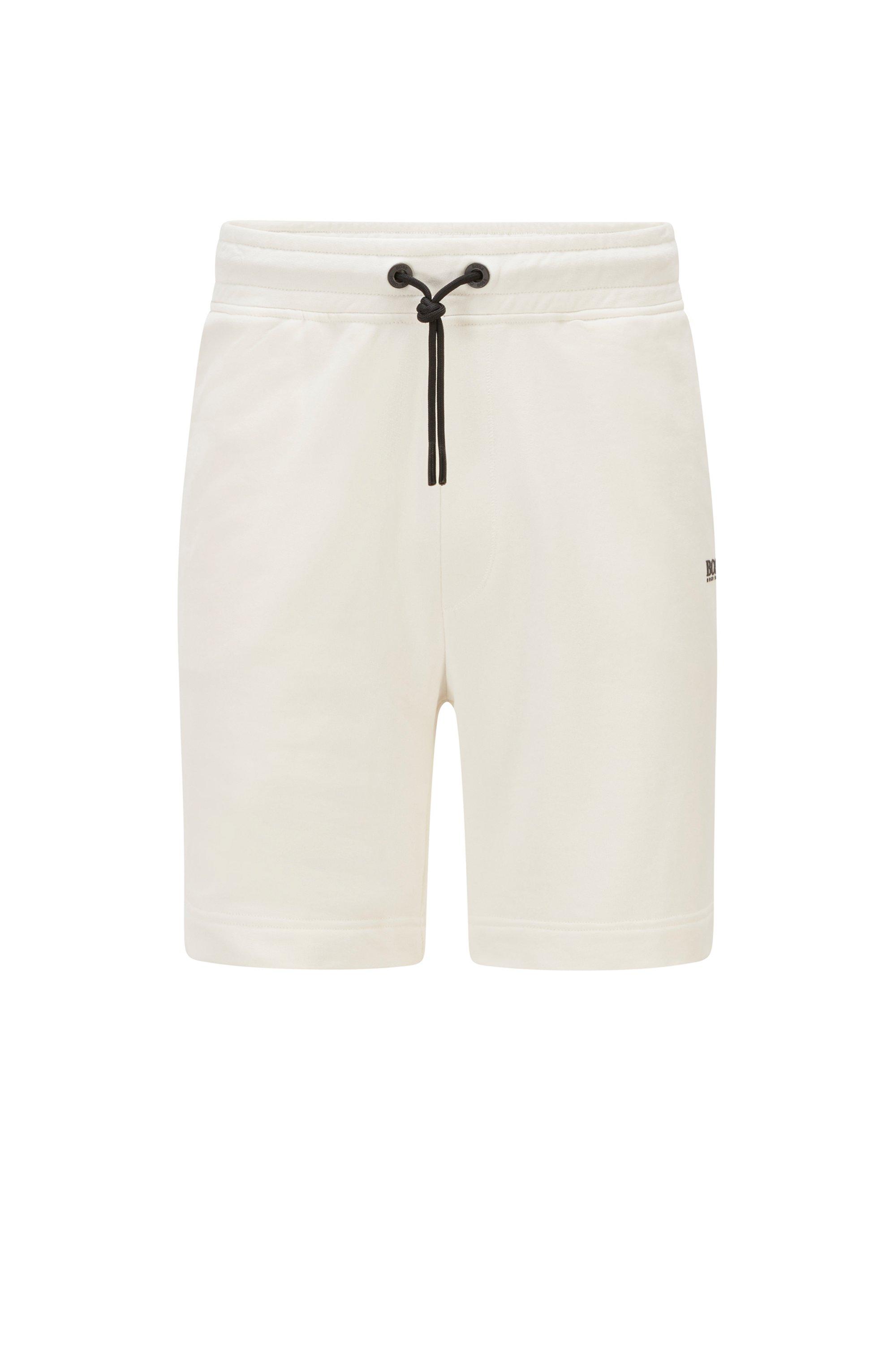 Shorts aus Bio-Baumwoll-Mix mit kontrastfarbenem Logo, Weiß