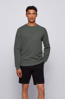 Relaxed-fit logo sweatshirt in an organic-cotton blend, Dark Green