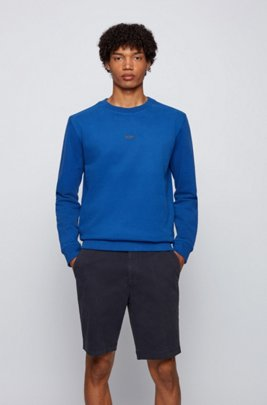 Sweat Relaxed Fit en coton biologique mélangé avec logo, Bleu
