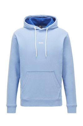 Sweat à capuche Relaxed Fit en molleton de coton biologique mélangé, bleu clair