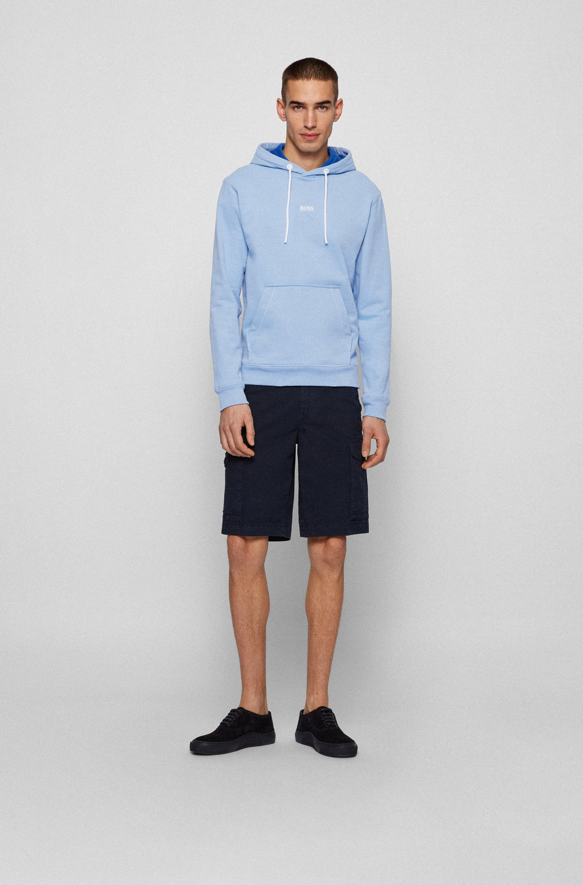 Relaxed-fit hoodie in organic-cotton-blend French terry