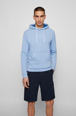 Relaxed-fit hoodie in organic-cotton-blend French terry, Light Blue