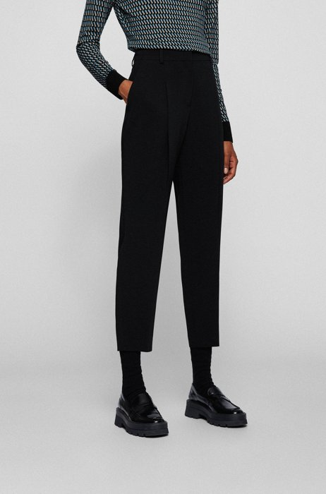 Regular-fit trousers in Japanese crepe with natural stretch, Black