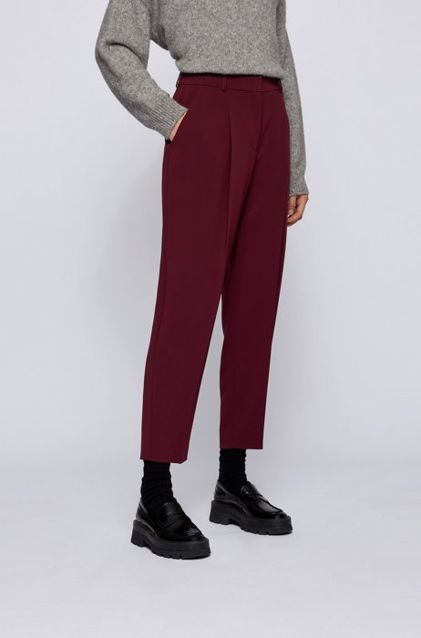 Regular-fit trousers in Japanese crepe with natural stretch, Dark Red