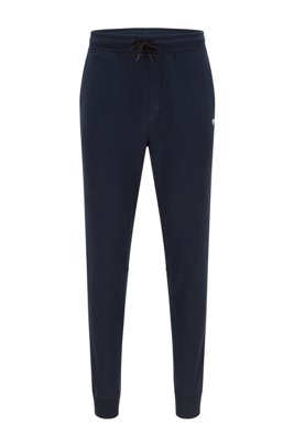 Regular-fit tracksuit bottoms in French terry with logo, Dark Blue
