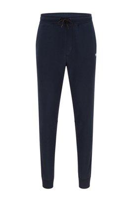 Pantalon de survêtement Regular Fit en molleton à logo, Bleu foncé