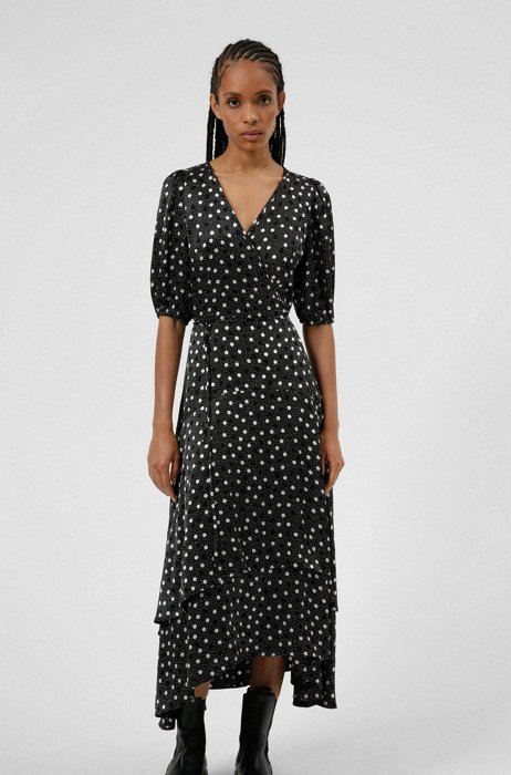 Polka-dot tiered wrap dress with puff sleeves, Patterned