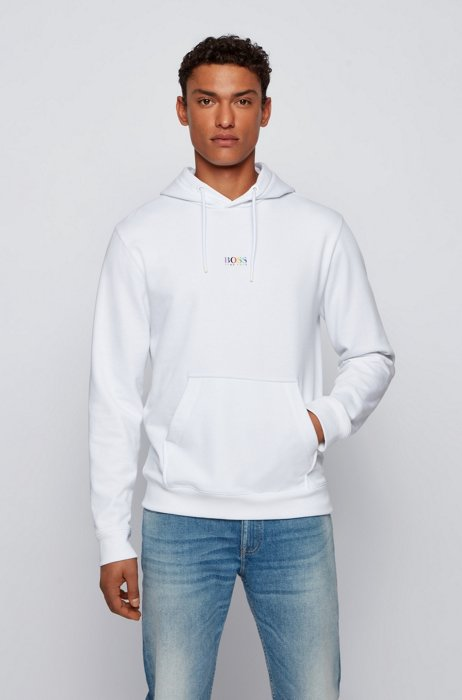 Rainbow-logo hoodie in an organic-cotton blend, White