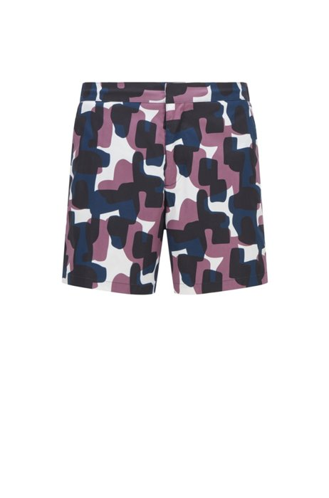 Camouflage-print swim shorts in structured ripstop fabric, Purple