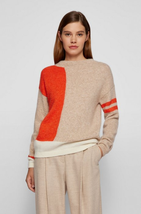 Regular-fit sweater with colour-block intarsia, Patterned