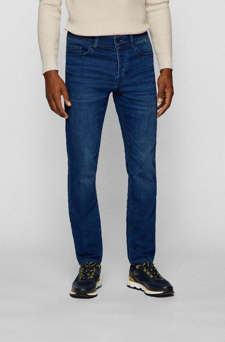 Tapered-fit jeans van red-cast gebreid denim, Donkerblauw
