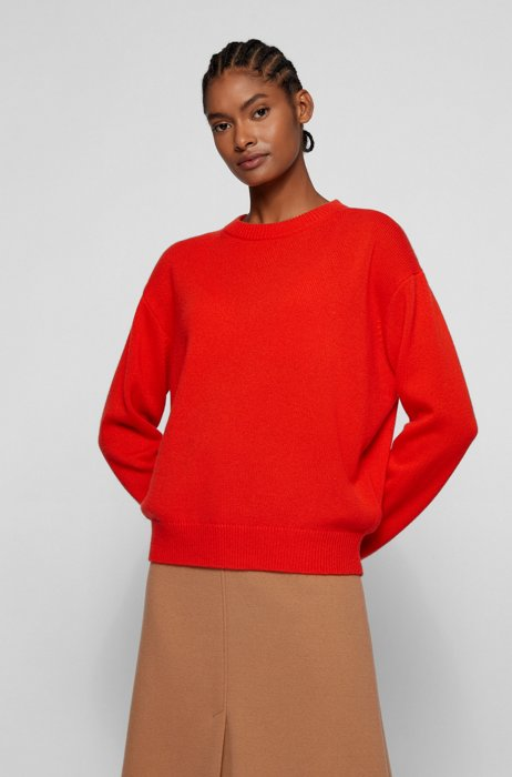Relaxed-fit sweater in pure cashmere, Orange