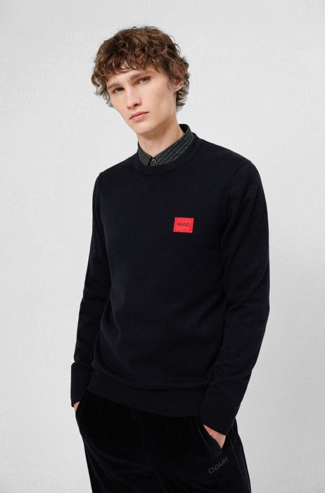 Crew-neck sweater in cotton with red logo label, Black