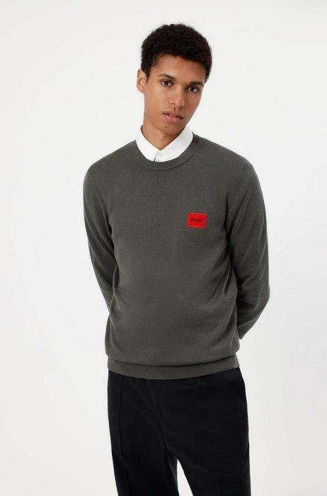 Crew-neck sweater in cotton with red logo label, Dark Grey
