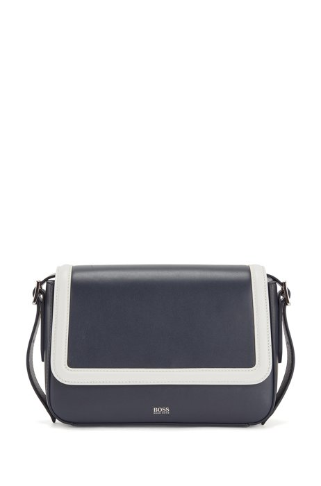 Nappa-leather shoulder bag with contrast trims, Dark Blue