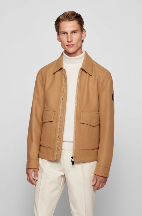 Oversized-fit jacket in a wool blend, Beige
