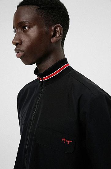 手写体徽标大款棉质拉链衬衫,  001_Black
