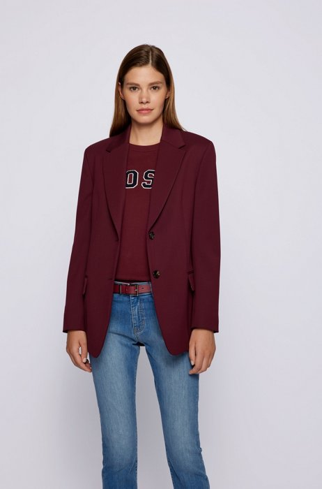 Regular-fit jacket in stretch-wool twill, Dark Red