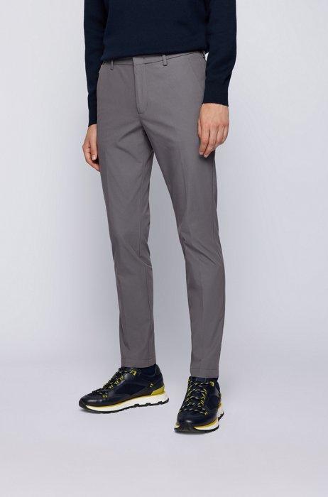 Slim-fit pants in a cotton blend, Dark Grey