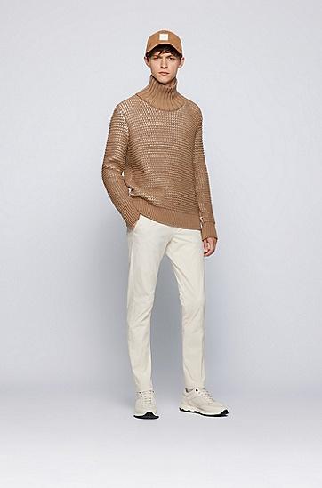 棉混纺修身长裤,  131_Open White