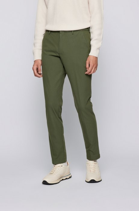 Slim-fit pants in a cotton blend, Light Green