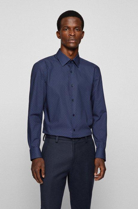 Slim-fit shirt in printed cotton poplin, Blue Patterned