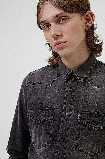 漂白牛仔布宽松衬衫,  002_Black