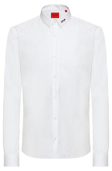 徽标装饰衣领修身棉质衬衫,  199_Open White
