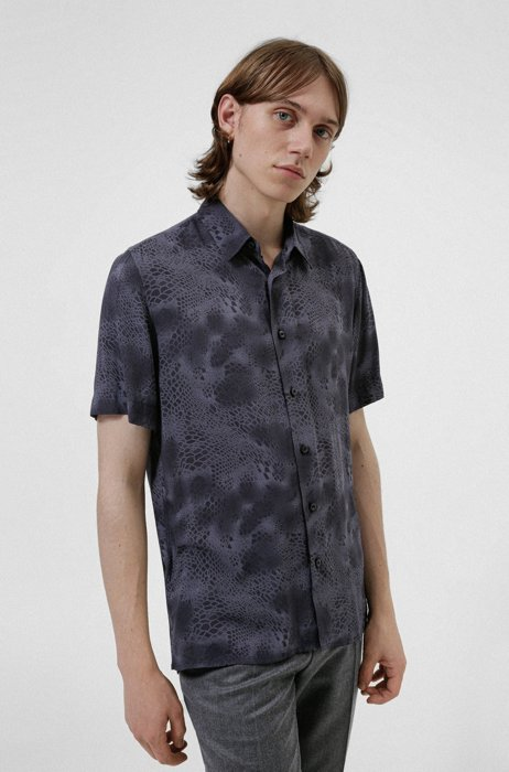 Relaxed-fit shirt in snake-print canvas, Dark Grey