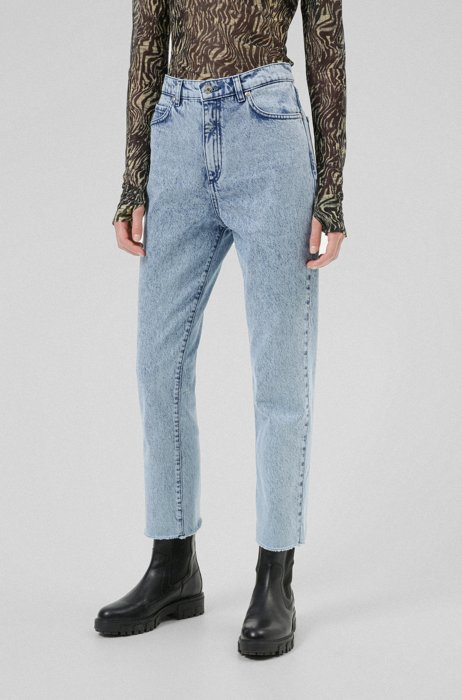Relaxed-fit jeans in Italian stretch denim, Light Blue