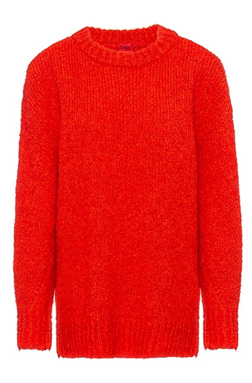 粗针宽松毛衣,  620_Bright Red