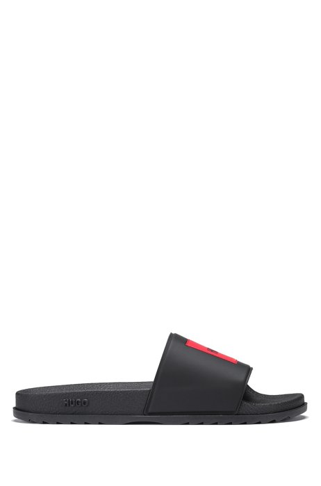 Italian-made slides with red logo label, Black