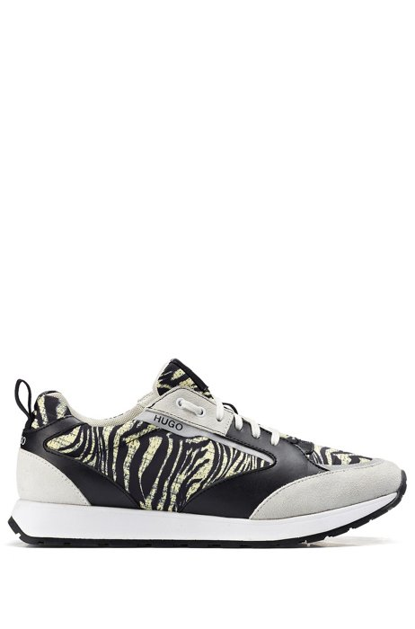 Zebra-print trainers in mixed materials, Patterned