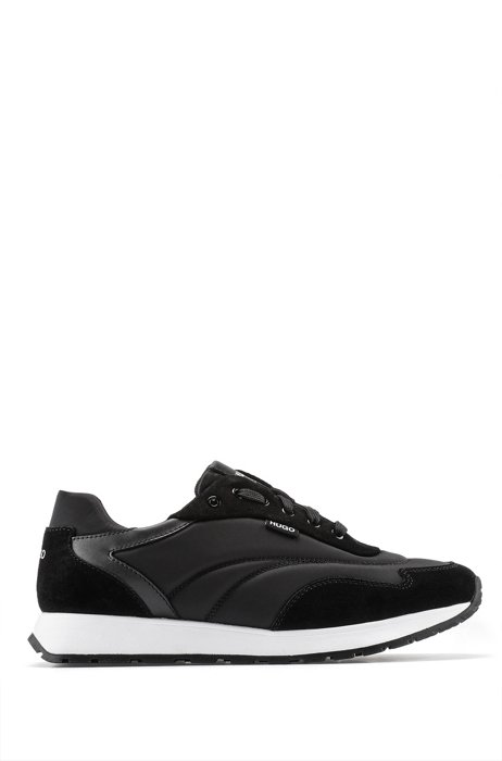 Low-top logo trainers in nylon and leather, Black