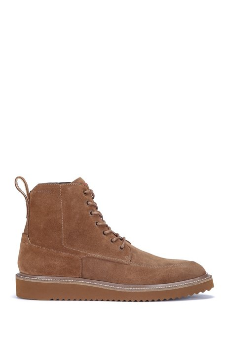 Lace-up half boots in suede with logo details, Brown