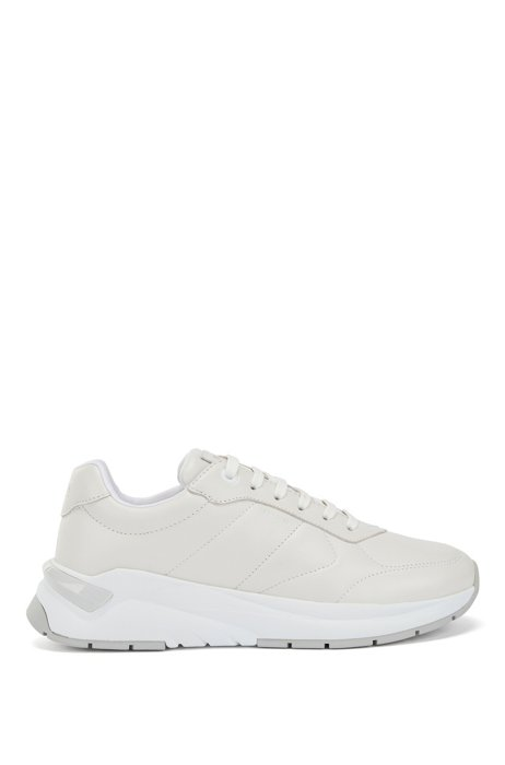 Low-top trainers in quilted nappa leather, White