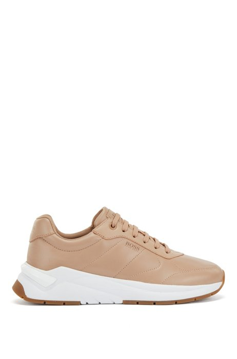 Low-top trainers in quilted nappa leather, Beige
