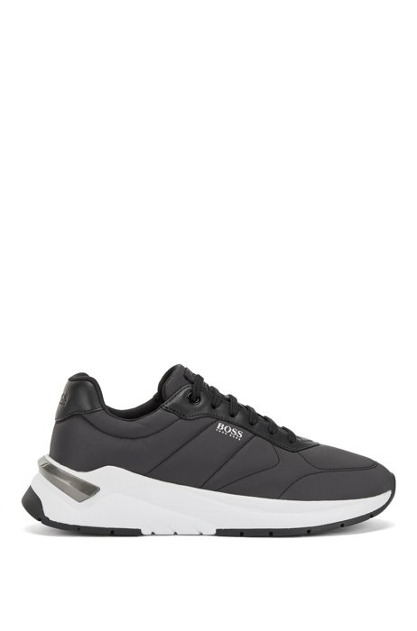 Low-top trainers in quilted fabric with leather facings, Black