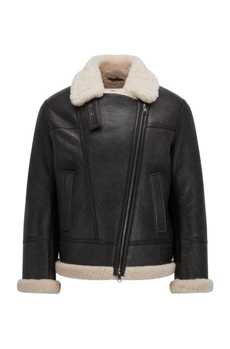 Relaxed-fit aviator jacket in leather with shearling inner, Black