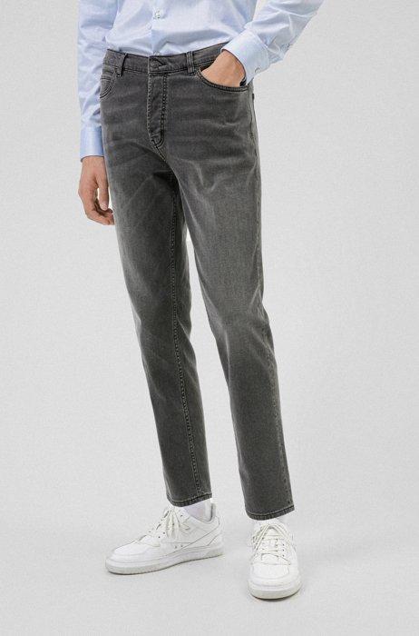 Tapered-fit jeans van zwart comfortabel stretchdenim, Donkergrijs