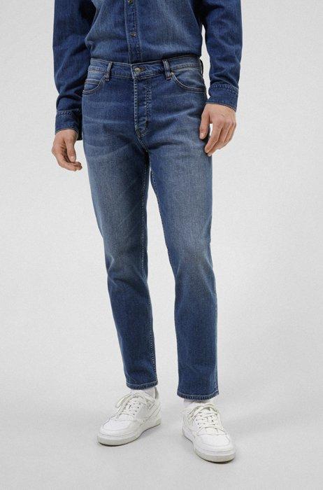 Tapered-fit jeans van middenblauw comfortabel stretchdenim, Blauw
