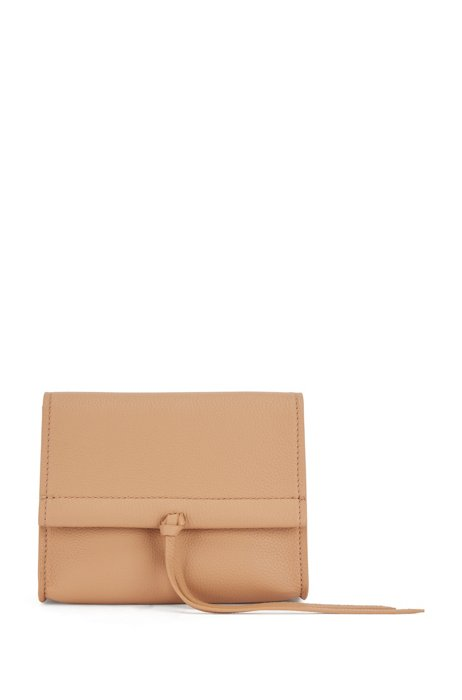 Grained-leather bag with cross-body strap, Light Brown