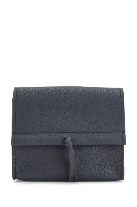 Grained-leather bag with cross-body strap, Dark Blue